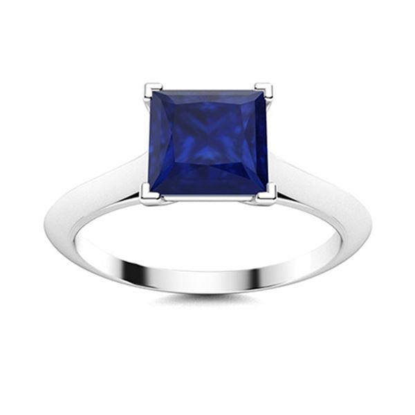 Natural 0.66 CTW Sapphire Solitaire Ring 14K White Gold