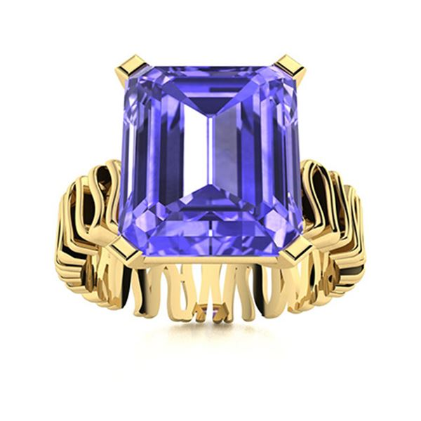 Natural 2.0 CTW Tanzanite Solitaire Ring 18K Yellow Gold