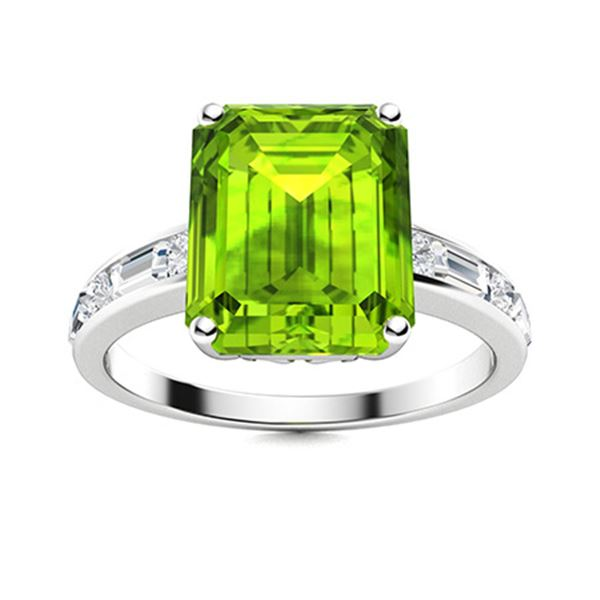 Natural 5.06 CTW Peridot & Diamond Engagement Ring 18K White Gold