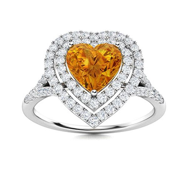 Natural 1.04 CTW Citrine & Diamond Engagement Ring 18K White Gold