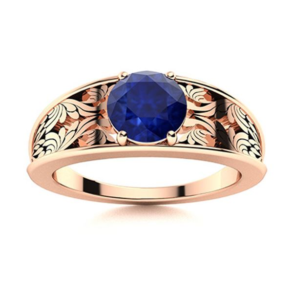 Natural 1.32 CTW Sapphire Solitaire Ring 18K Rose Gold