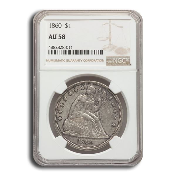 1860 Liberty Seated Dollar AU-58 NGC