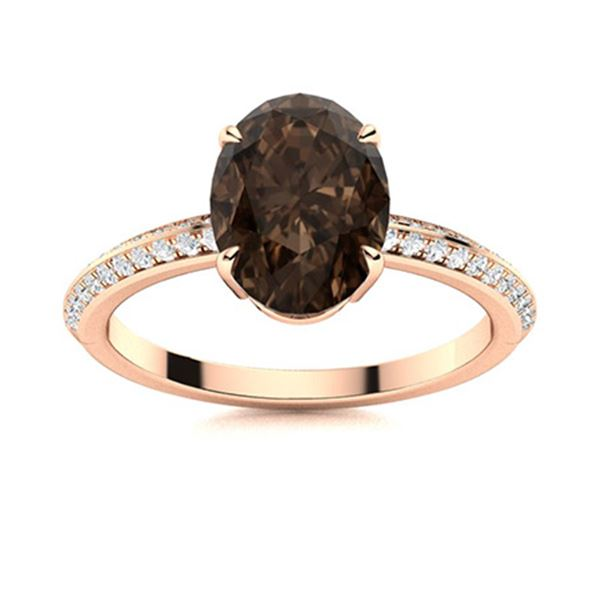 Natural 1.67 CTW Smoky Quartz & Diamond Engagement Ring 18K Rose Gold