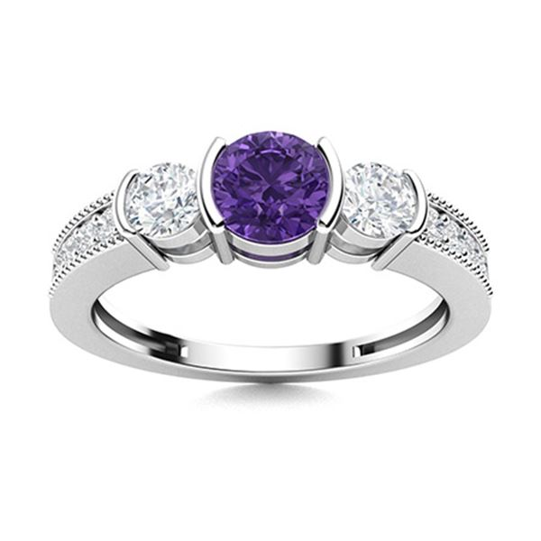 Natural 0.81 CTW Amethyst & Diamond Engagement Ring 14K White Gold