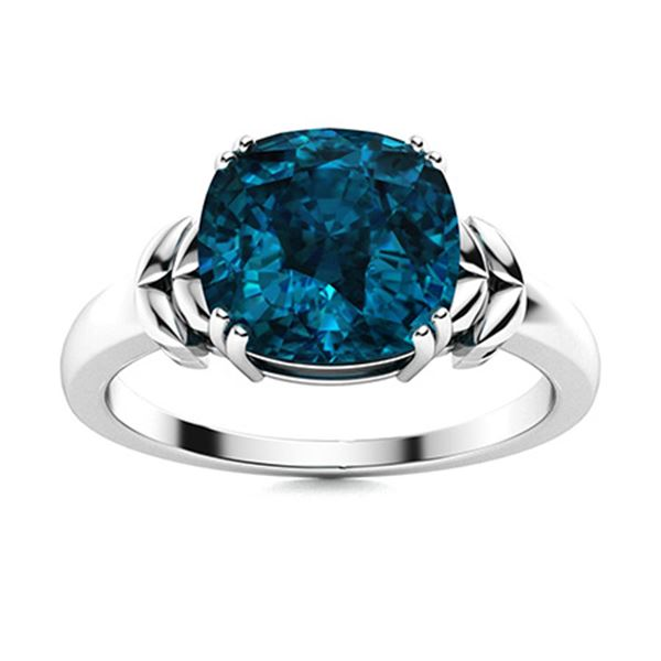 Natural 1.37 CTW Topaz Solitaire Ring 14K White Gold