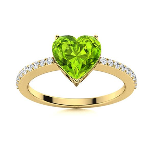 Natural 1.76 CTW Peridot & Diamond Engagement Ring 18K Yellow Gold