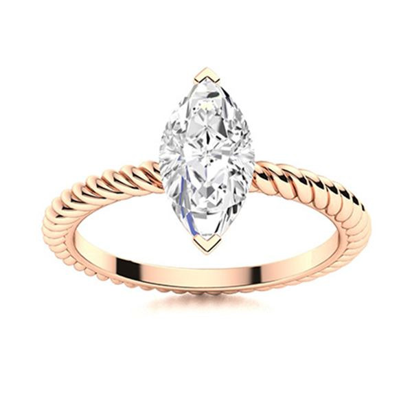 Natural 0.31 CTW Diamond Solitaire Ring 14K Rose Gold