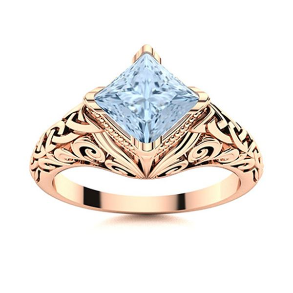 Natural 1.08 CTW Aquamarine Solitaire Ring 14K Rose Gold