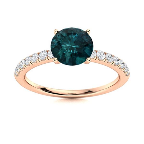 Natural 1.52 CTW Blue & White Diamond Engagement Ring 18K Rose Gold