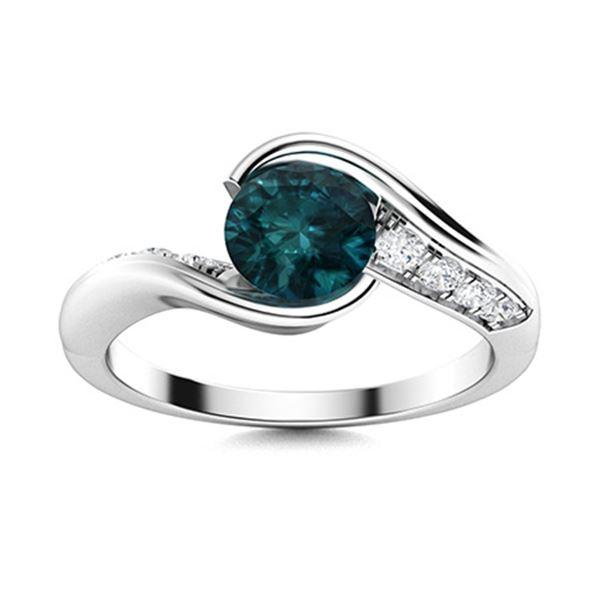 Natural 0.66 CTW Blue & White Diamond Engagement Ring 14K White Gold