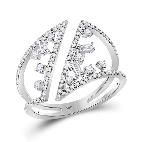 14kt White Gold Womens Baguette Diamond Scattered Negative Space Fashion Ring 3/8 Cttw