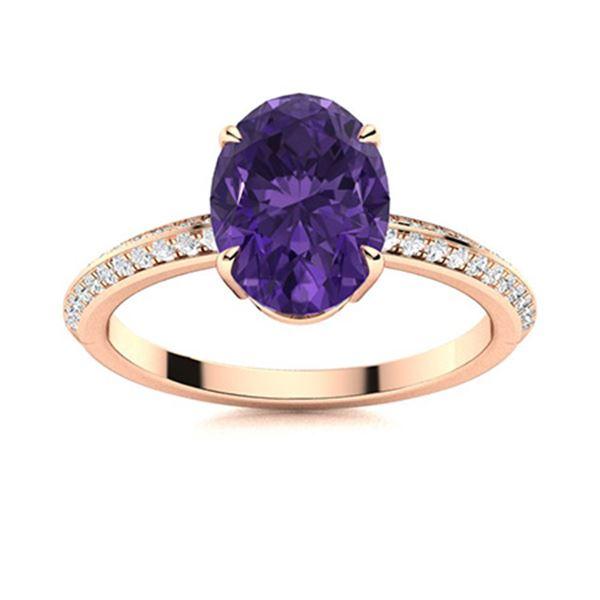 Natural 1.79 CTW Amethyst & Diamond Engagement Ring 14K Rose Gold