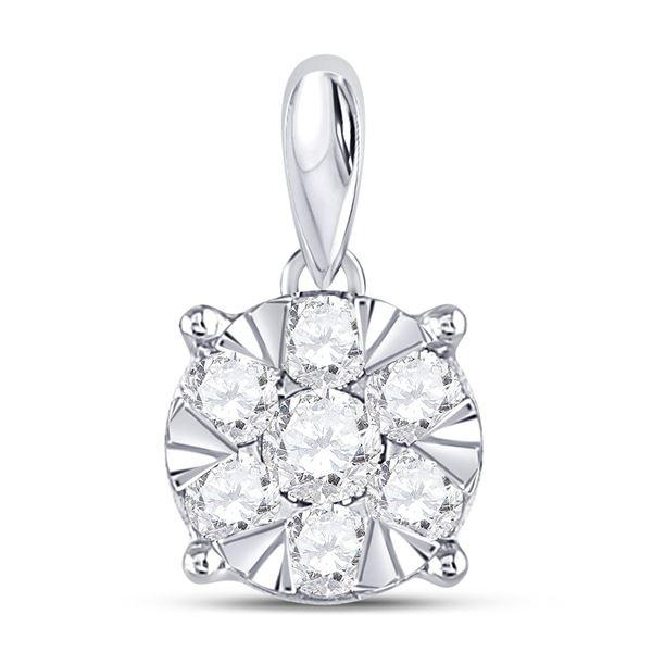 14kt White Gold Womens Round Diamond Flower Cluster Pendant 1/2 Cttw