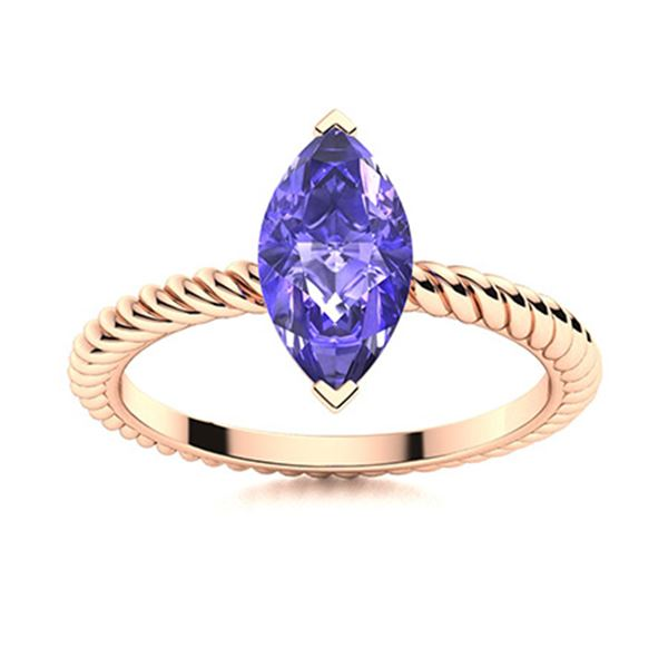 Natural 0.81 CTW Tanzanite Solitaire Ring 18K Rose Gold