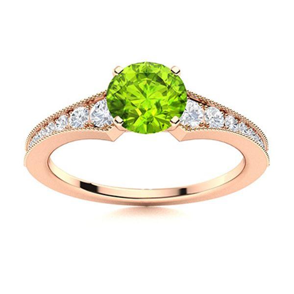 Natural 0.85 CTW Peridot & Diamond Engagement Ring 14K Rose Gold