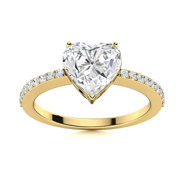Natural 0.97 CTW Diamond Solitaire Ring 18K Yellow Gold