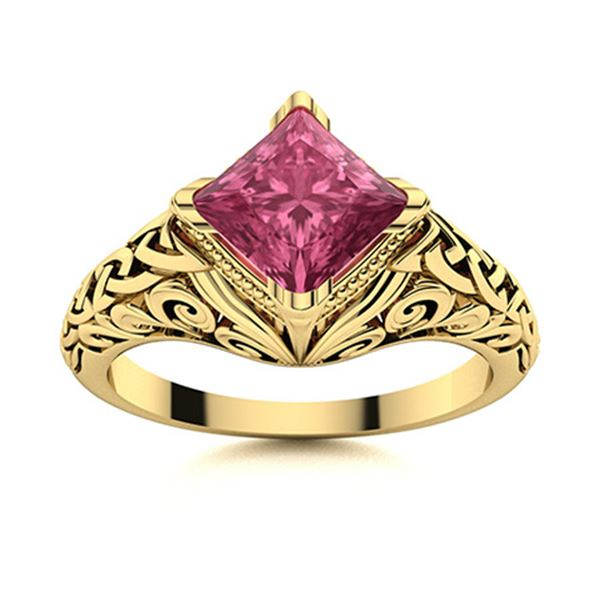 Natural 0.87 CTW Tourmaline Solitaire Ring 18K Yellow Gold