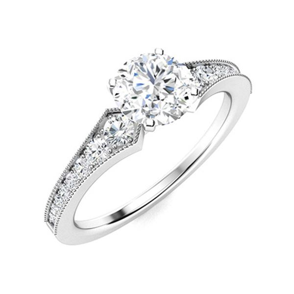 Natural 0.86 CTW Diamond Solitaire Ring 18K White Gold