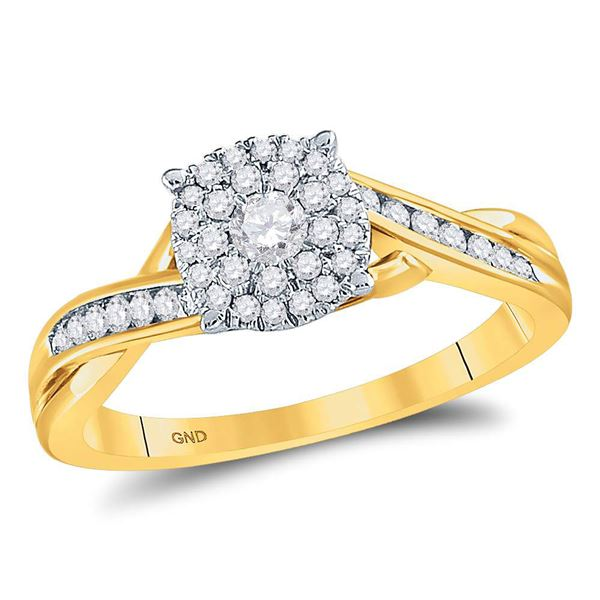 14kt Yellow Gold Round Diamond Cluster Bridal Wedding Engagement Ring 1/3 Cttw