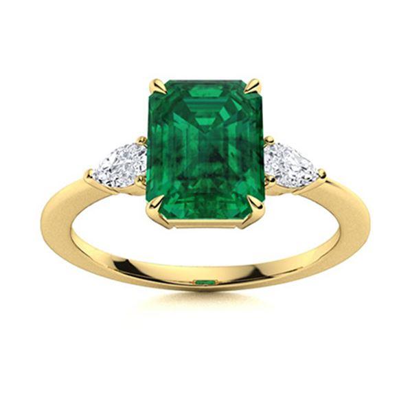 Natural 1.21 CTW Emerald & Diamond Engagement Ring 14K Yellow Gold
