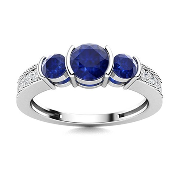 Natural 1.08 CTW Sapphire & Diamond Engagement Ring 18K White Gold