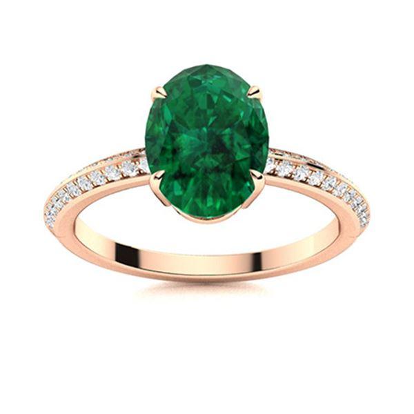 Natural 4.66 CTW Emerald & Diamond Engagement Ring 18K Rose Gold
