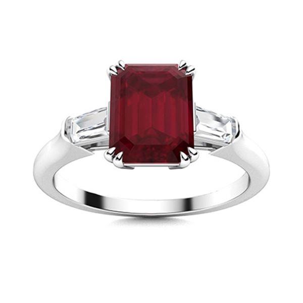 Natural 1.31 CTW Ruby & Diamond Engagement Ring 14K White Gold