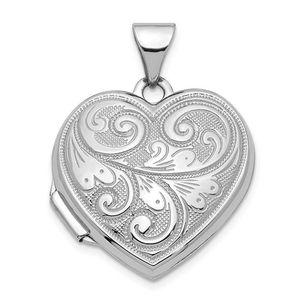14k White Gold Floral Etched 19 mm Heart Locket Pendant