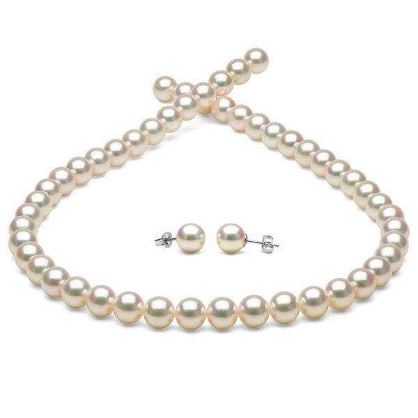 White Hanadama Japanese Akoya Pearl Jewelry Set, 7.5-8.0mm