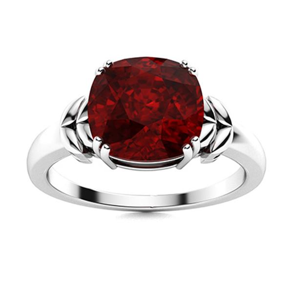Natural 1.43 CTW Garnet Solitaire Ring 18K White Gold