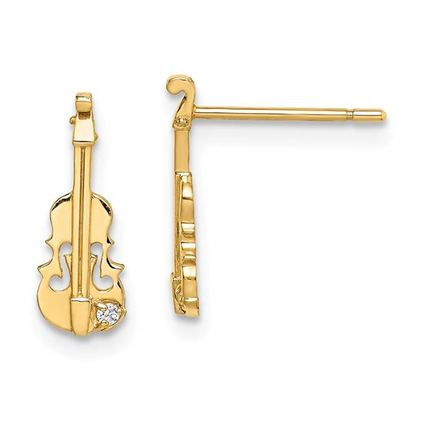 14k Cubic Zirconia Violin Post Earrings - 39 mm