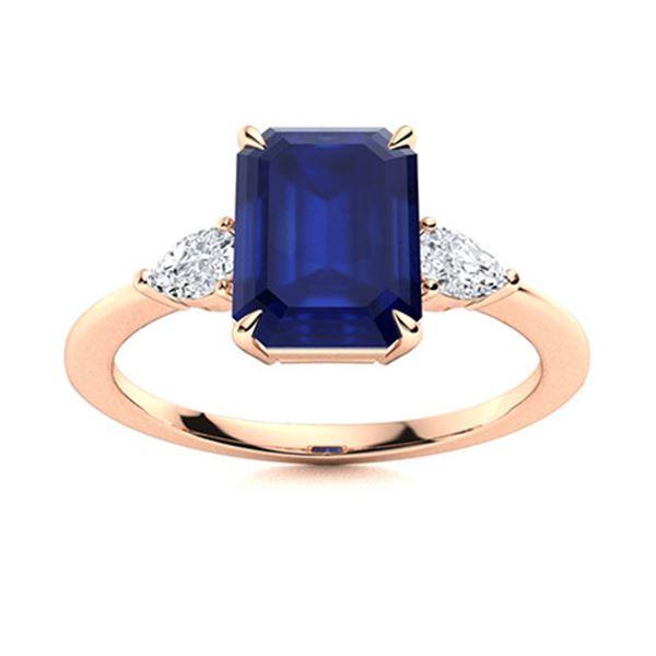 Natural 4.27 CTW Sapphire & Diamond Engagement Ring 14K Rose Gold