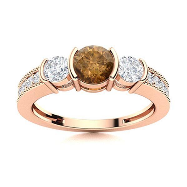 Natural 0.86 CTW Brown & White Diamond Engagement Ring 14K Rose Gold