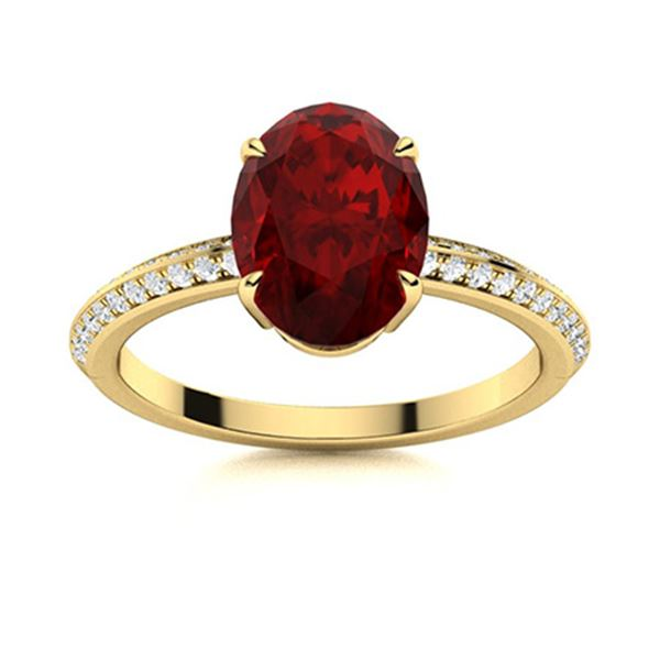 Natural 2.09 CTW Garnet & Diamond Engagement Ring 14K Yellow Gold