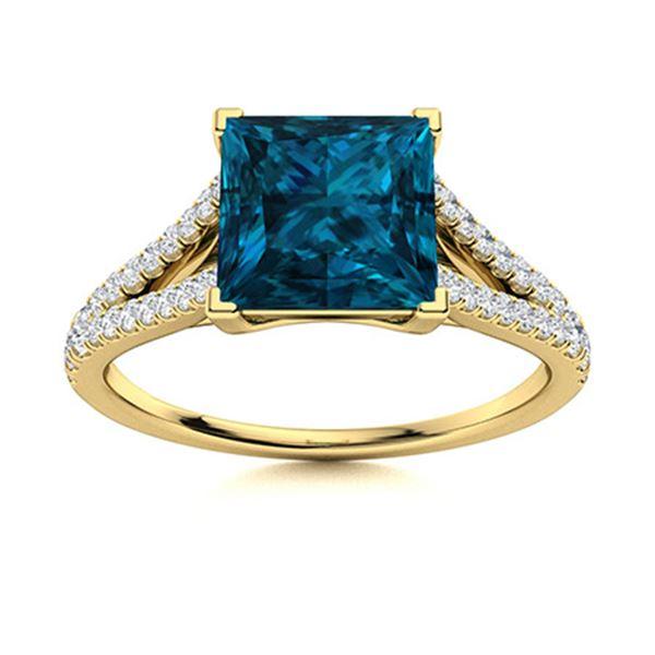 Natural 1.10 CTW Topaz & Diamond  Engagement Ring 14K Yellow Gold