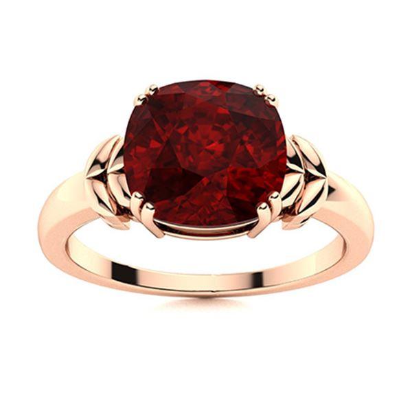 Natural 4.03 CTW Garnet Solitaire Ring 14K Rose Gold