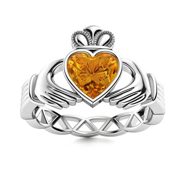 Natural 1.55 CTW Citrine Solitaire Ring 14K White Gold