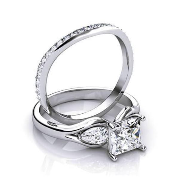 Natural 2.77 CTW Princess & Pear Cut Diamond Engagement Ring 14KT White Gold