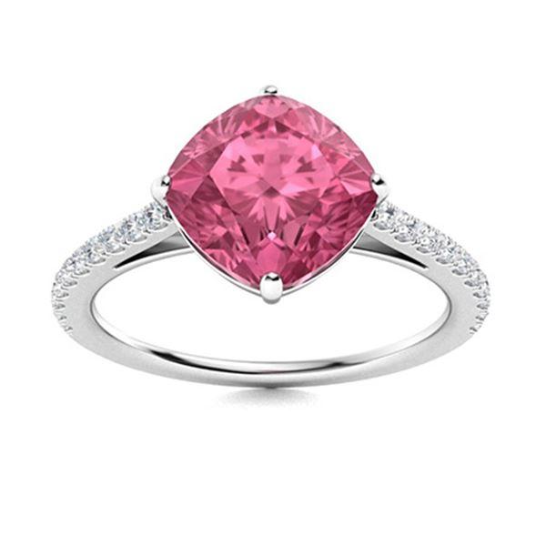 Natural 1.71 CTW Tourmaline & Diamond Engagement Ring 14K White Gold