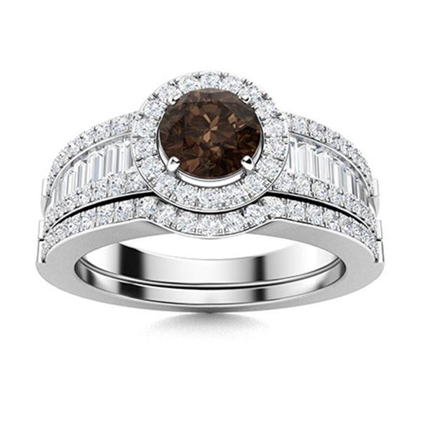 Natural 1.39 CTW Smoky Quartz, Sapphire & Diamond Engagement Ring 18K White Gold