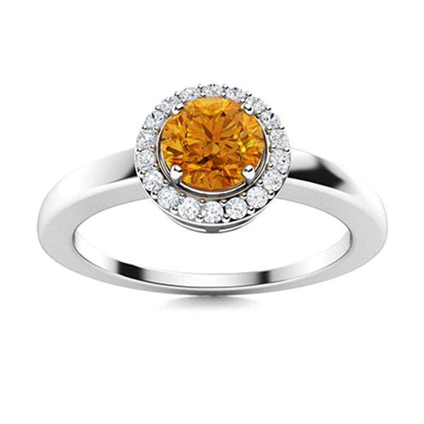 Natural 0.53 CTW Citrine & Diamond Engagement Ring 18K White Gold