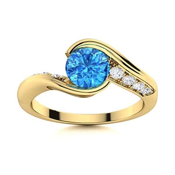 Natural 0.91 CTW Topaz & Diamond Engagement Ring 14K Yellow Gold