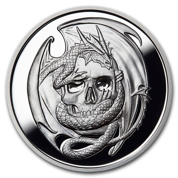 5 oz Silver Proof Round - Anne Stokes Dragons: Skull Embrace