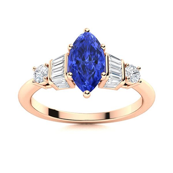 Natural 1.45 CTW Ceylon Sapphire & Diamond Engagement Ring 14K Rose Gold