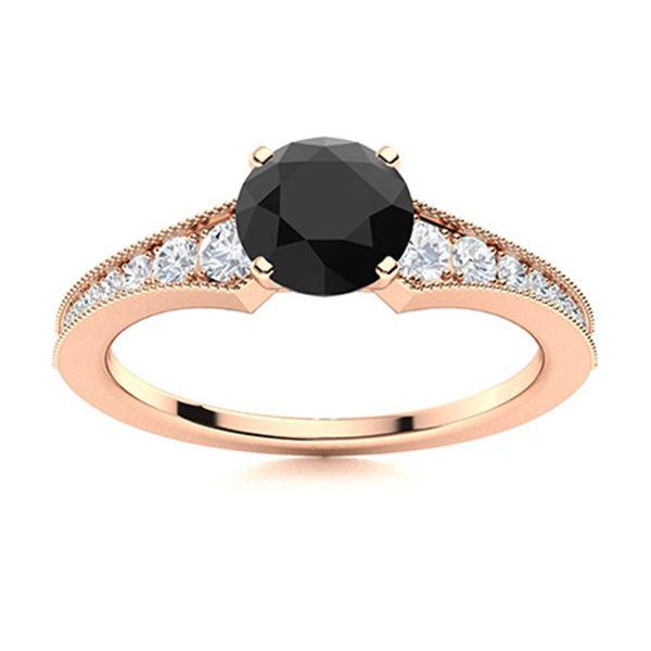 Natural 1.66 CTW Onyx & Diamond Engagement Ring 18K Rose Gold