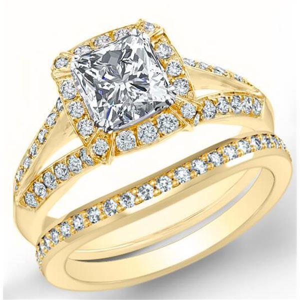 Natural 3.02 CTW Halo Radiant Cut Diamond Split Shank Engagement Set 14KT Yellow Gold