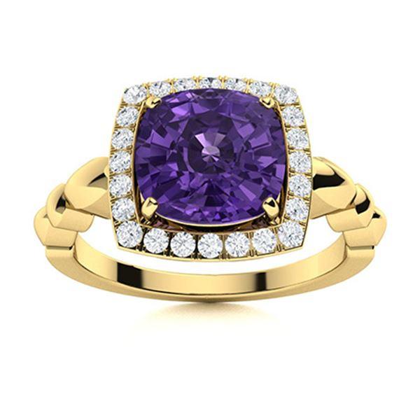 Natural 2.73 CTW Amethyst & Diamond Engagement Ring 14K Yellow Gold
