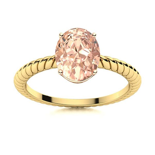 Natural 2.12 CTW Morganite Solitaire Ring 14K Yellow Gold