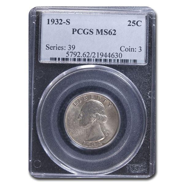1932-S Washington Quarter MS-62 PCGS