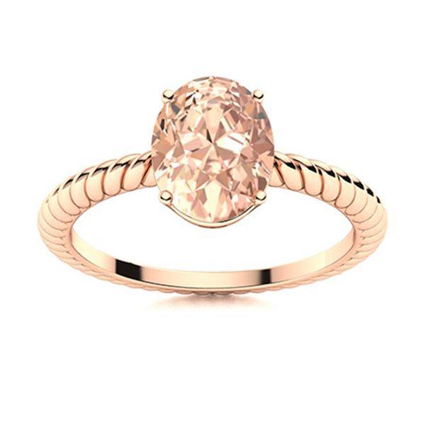 Natural 1.12 CTW Morganite Solitaire Ring 18K Rose Gold